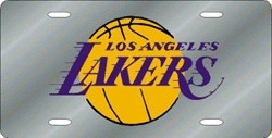 Los Angeles Lakers Laser Cut Silver License Plate