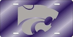 Kansas State Wildcats Purple Laser Cut License Plate