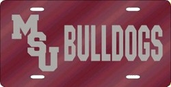 Mississippi State Bulldogs Red Laser Cut License Plate