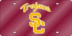 USC Trojans Laser Cut 'Trojans' Red License Plate