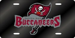 Tampa Bay Buccaneers Laser Cut Black w/ Wordmark License Plate