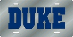Duke Blue Devils Silver Laser Cut License Plate