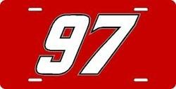 Kurt Busch Red Laser Cut License Plate