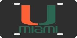 Miami Hurricanes Laser Cut Black License Plate