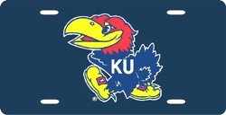 Kansas Jayhawks Laser Cut Navy License Plate