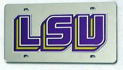 LSU Tigers Silver Laser Cut License Plate