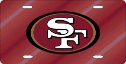 San Francisco 49ers Laser Cut Red License Plate