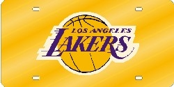 Los Angeles Lakers Laser Cut Yellow License Plate