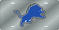 Detroit Lions Laser Cut Silver License Plate