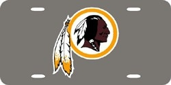 Washington Redskins Laser Cut Silver License Plate