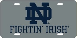 Notre Dame Fighting Irish Laser Cut Silver License Plate