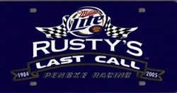Rusty Wallace Blue 'Last Call' Laser Cut License Plate