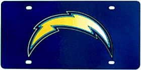San Diego Chargers Laser Cut Silver License Plate (New Logo)