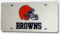 Cleveland Browns Laser Cut Silver License Plate