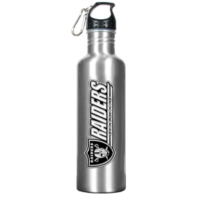 Oakland Raiders 34oz Silver Aluminum Water Bottle
