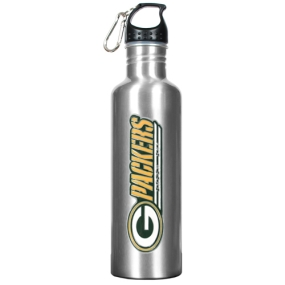 Green Bay Packers 34oz Silver Aluminum Water Bottle