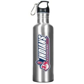 Cleveland Indians 34oz Silver Aluminum Water Bottle
