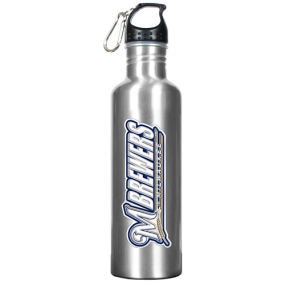 Milwaukee Brewers 34oz Silver Aluminum Water Bottle