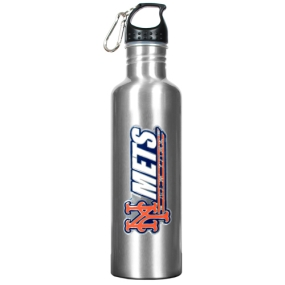 New York Mets 34oz Silver Aluminum Water Bottle
