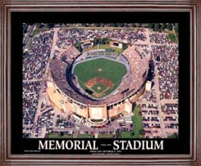 Aerial view print of Baltimore Orioles old Memorial Stadium