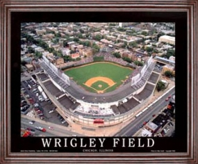 Aerial view print of Chicago Cubs Wrigley Field