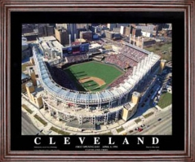 Aerial view print of Cleveland Indians Jacobs Field