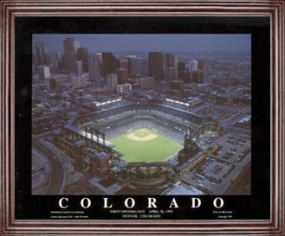 Aerial view print of Colorado Rockies Coors Field