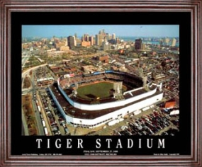 Aerial view print of Detroit Tigers old Tiger Stadium