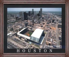 Aerial view print of Houston Astros Enron Field