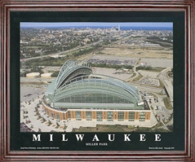 Aerial view print of Milwaukee Brewers Miller Park
