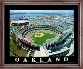 Aerial view print of Oakland Athletics Network Associates Colliseum