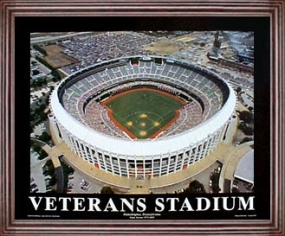 Aerial view print of Philadelphia Phillies old Veterans Stadium