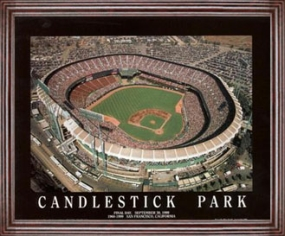 Aerial view print of San Francisco Giants old Candlestick Park