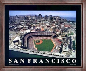Aerial view print of San Francisco Giants new Pac Bell Park