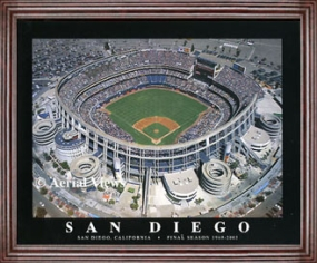 Aerial view print of San Diego Padres old stadium