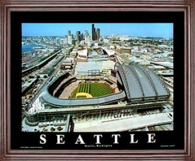 Aerial view print of Seattle Mariners Safeco Field