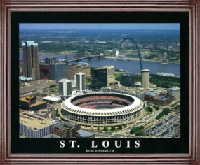 Aerial view print of St. Louis Cardinals old Busch Stadium