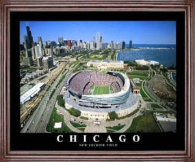 Aerial view print of Chicago Bears new Soldier Field