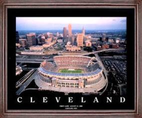 Aerial view print of Cleveland Browns Stadium