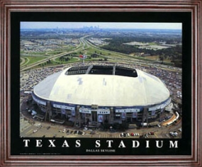 Aerial view print of Dallas Cowboys Texas Stadium