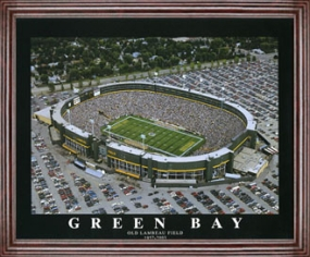 Aerial view print of Green Bay Packers old Lambeau Field