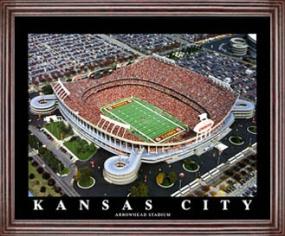 Aerial view print of Kansas City Chiefs Arrowhead Stadium