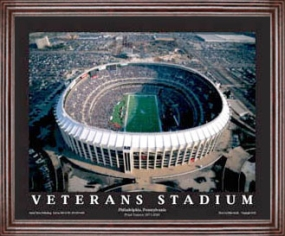 Aerial view print of Philadelphia Eagles old Veterans Stadium