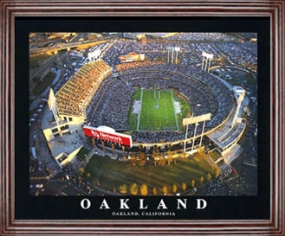 Aerial view print of Oakland Raiders Network Associates Colliseum