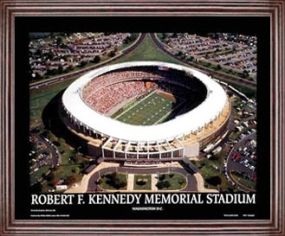 Aerial view print of Washington Redskins old RFK Stadium