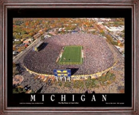 Aerial view print of Michigan Wolverines Michigan Stadium