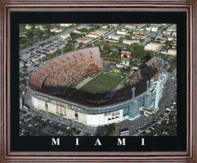 Aerial view print of Miami Hurricanes Orange Bowl Stadium