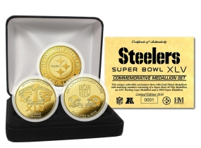 Pittsburgh Steelers Super Bowl XLV 24KT Gold Flip Coin Set