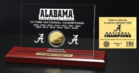 Crimson Tide 13 Time Champions Engraved Acrylic with 24KT Gold Champions Coin