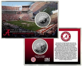 University of Alabama Bryant-Denny Stadium Silver Coin Card